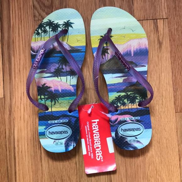 37fc0622f35 Havaianas Slim Flip Flops w  Island Background NWT